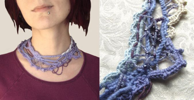 Lilac - Freefrom Crochet Neckl by Recycled-by-Hyena