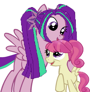 Aria Blaze and her little sister Raspberry Blaze by ani80