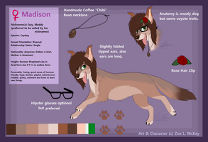 Madison 'Izzy' Ref. Sheet .:Feral Form:. by ScottishRedWolf