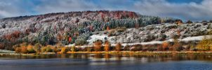 Snowy Autumn Morning (Pano) by Khaosprinz
