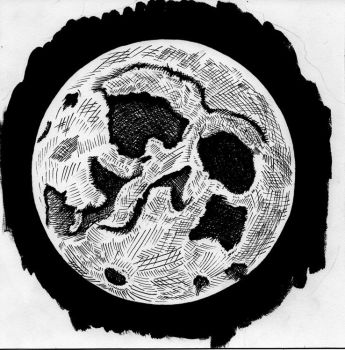Full Moon Pen and Ink by AshleyRussell