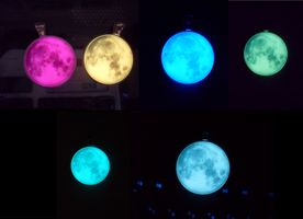Glow in the Dark Moon Pendants. by heatbish