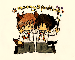 Moony and Padfoot by GoldenPhoenix75