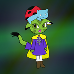 Carol Tea dressed as Hat Kid using Catbug as a hat by Meowstic-45