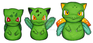 Bulbasaur, Ivysaur and Venusaur [PPP] by Hiryae