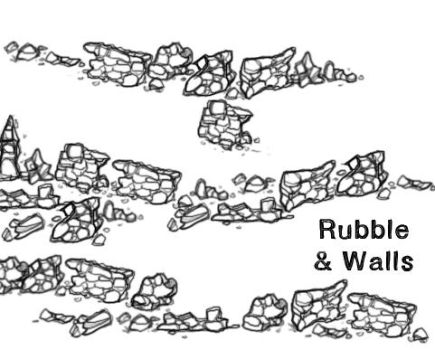 Rubble and Broken Wall Ruins PS Map Brush Pack by MissTakArt
