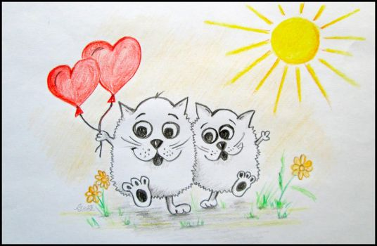 Cats love.Simple drawings by Alena-48