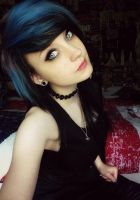 Gothic look xD Black hair with blue on le top by LouLouLand