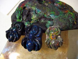 Carved Andamooka Opal Spiders by jessa1155