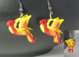 Polymer Clay Phoenix Earrings by MiniMythicalMonsters