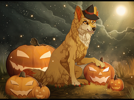 Fennekin Halloween by MapleSpyder