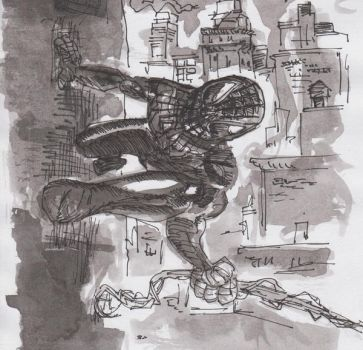 Ink trials Spidey by tarunbanned