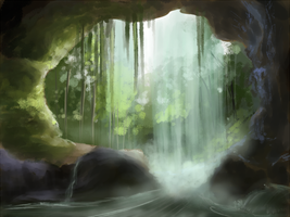 Cave entrance, behind the Waterfall by Yufika