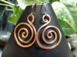 copper spiral earrings by BacktoEarthCreations