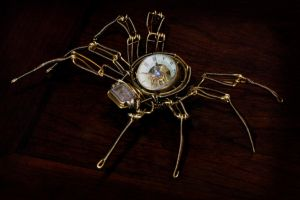 Steampunk Mechanical Watch Spider Sculpture by CatherinetteRings