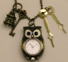 Steampunk Owl Watch Pendant by pervyyaoifancier