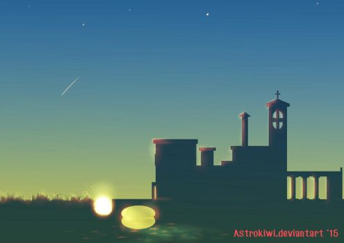 Sunset town silhouette by Astrokiwi