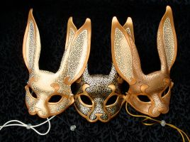 Three Venetian Rabbit Masks by merimask