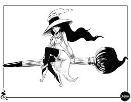 Inktober D03 Witch and her Ink Brushstick by Holyengine