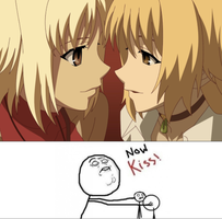 Canaan and Maria Y U no kiss? by rainbowPudding18