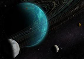 Blue giant with its planets by Johndoop