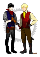 Steampunk Merlin and Arthur by bunnyluz