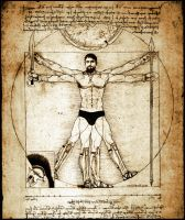 King Leonidas da Vinci Vitruvian Man by Rabittooth