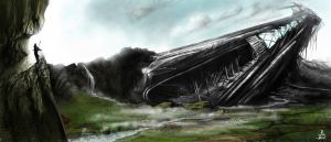 crashed spaceship by Robjenx