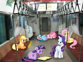 Mane 6 in a Train :PRACTICE: by Petalierre