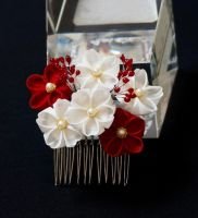 Crimson Red and White Sakura Blossoms Kanzashi 154 by japanesesilkflowers