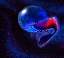 Shrimp in Space by sketchinthoughts