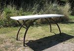 Arch Table Base with Marble Top by ou8nrtist2