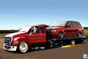 Ford F650 and Range Rover by carsrus