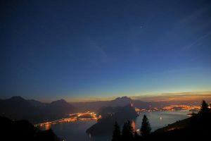 Night  Sky above Lake Lucerne by ErwinStreit