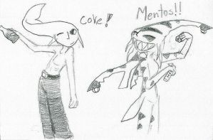 Sharky  Fishy  Coke Mentos by Akhrrana