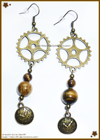 Hand Made Steampunk Inspired Antique Gold Earrings by izka-197