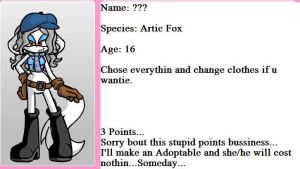 My new charater! (aboped!) Crystal the Artic Fox! by TheMrLfan