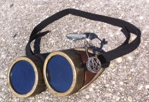 Steampunk Goggles with Adjustable Loupe Lens by SteaMiscellania