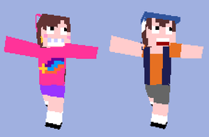 Dipper and Mabel Minecraft Skins by RosieMe