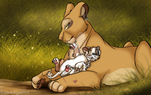 Mom and cub by Cynderthedragon5768