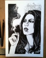 Inktober #11 - Jackie Brown by B3NN3TT