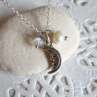 Silver Crescent Moon and Moonstone necklace by yael360
