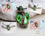 Green lampwork glass heart wire wrapped pendant by IanirasArtifacts