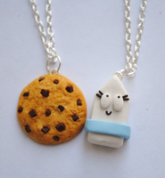 Milk and Cookie Necklaces by ClayRunway