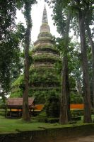 Thai Buddhist pagoda in forest by Jingang