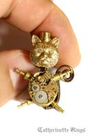 Steampunk Top Hat Cat Pin by CatherinetteRings