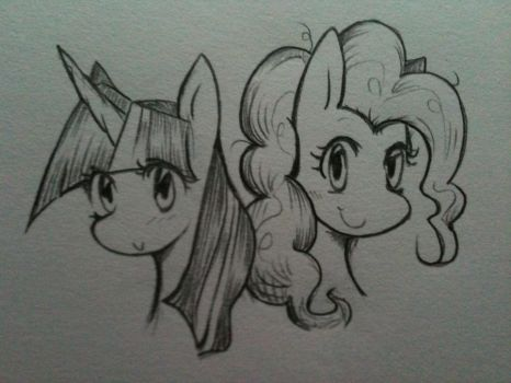 twilight and pinkie by KingJusH