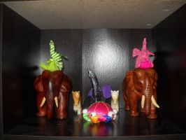 Five Elephants, Two Horses, and Chinese Pincushion by InsanePaintStripes