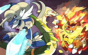 Unova Starters Wallpaper by Phatmon