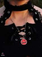 scary red creature necklace by Darkween